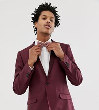 Heart And Dagger Skinny Fit Suit Jacket With Satin Lapel In Red