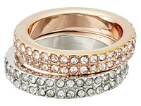 Guess Pave Duo Band Ring Silver Gold Crystal Ring