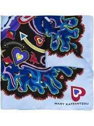 Mary Katrantzou Abstract Print Scarf Blue