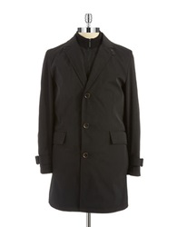 Strellson Button Front Trench Coat Black