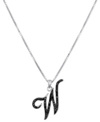 Macy's Sterling Silver Necklace Black Diamond 'W' Initial Pendant 1 4 Ct. T.W.