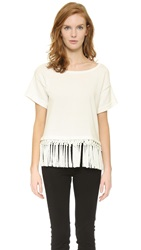 Milly Braided Fringe Top White