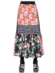 Clover Canyon Floral Sunrise Crepe De Chine Midi Skirt