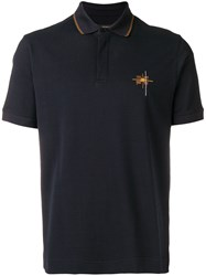 Z Zegna Contrast Embroidered Polo Shirt Blue