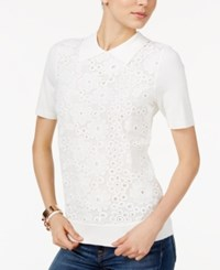 Tommy Hilfiger Lace Front Sweater Only At Macy's Ivory