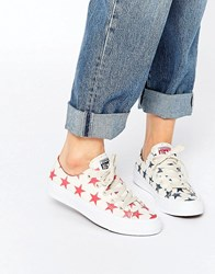 Converse All Star Chuck Taylor Miss Match Cream Stars Ox Ii Plimsoll Trainers Parchment White