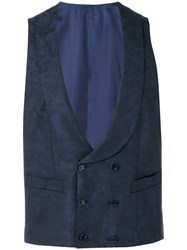 Canali Formal Waistcoat Men Cotton Cupro Wool 48 Blue