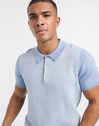 Ben Sherman Knitted Geometric Polo Shirt Blue
