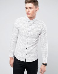 Only And Sons Shirt In All Over Print In Slim Fit Bright White