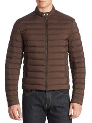 Ralph Lauren Lawton Down Biker Jacket Brown