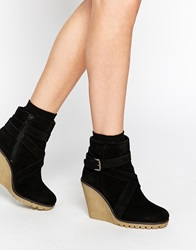 Ravel Wedge Suede Ankle Boots Blacksuede