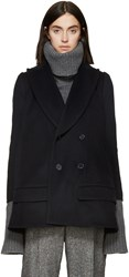 Undercover Navy Wool Flared Coat