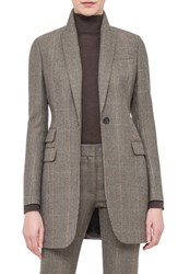 Women's Akris One Button Check Wool And Cashmere Jacket