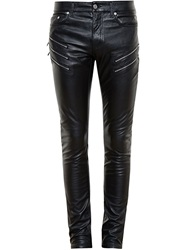 Saint Laurent Faux Leather Zipped Jeans Black