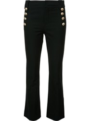 Derek Lam 10 Crosby Button Detail Cropped Pants Black