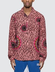 Stussy Spider Web Flannel Long Sleeve Shirt Pink