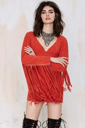 Nasty Gal Joplin Fringe Suede Dress