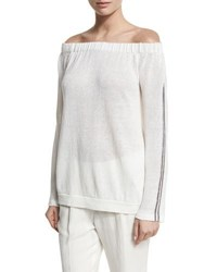 Brunello Cucinelli Off Shoulder Knit Long Sleeve Top White