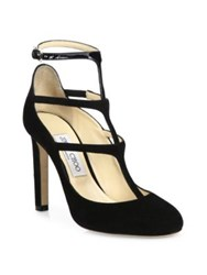 Jimmy Choo Doll 100 Suede And Patent Leather T Strap Pumps Black