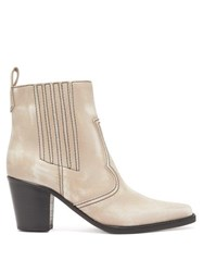 Ganni Callie Western Leather Ankle Boots Cream
