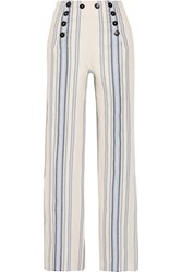 Lemlem Halima Striped Cotton And Linen Blend Wide Leg Pants Sky Blue