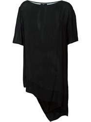 Lost And Found Sheer Asymmetric Top Black