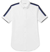Alexander Mcqueen Brad Slim Fit Button Down Collar Stretch Cotton Poplin Shirt White
