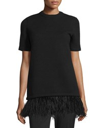Michael Kors Short Sleeve Sweater W Ostrich Feathers Black