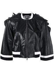 Aviu Ruffle Trim Cropped Jacket Women Leather Polyamide Polyester Metallized Polyester M Black
