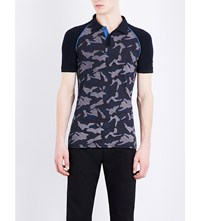 Armani Jeans Camouflage Stretch Cotton Polo Shirt Blue