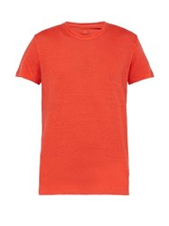 120 Lino Slubbed Linen Crew Neck T Shirt Red