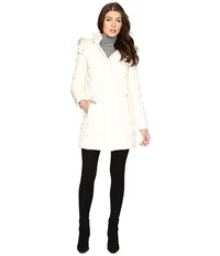 Cole Haan Down Parka W Faux Fur Ivory Women's Coat White