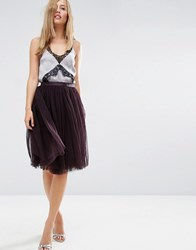 Needle And Thread Tulle Midi Skirt Aubergine Purple