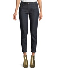 Boutique Moschino Straight Leg Ankle Jeans Dark Blue