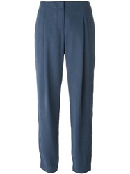 Akris Pleated Tapered Trousers Blue