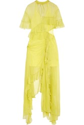 Preen By Thornton Bregazzi Azura Cutout Asymmetric Ruffled Silk Chiffon Midi Dress Chartreuse