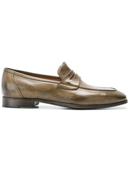 Silvano Sassetti Distressed Penny Loafers Brown