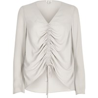 River Island Womens Beige Ruched Front Split Sleeve Blouse