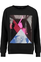 Karl Lagerfeld Eddie Printed Cotton Felt Sweatshirt Black