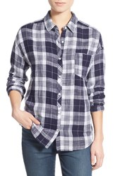 Junior Women's Bp. Plaid Cotton Shirt Navy Evening Camping Check