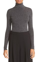 Diane Von Furstenberg Women's Tess Metallic Turtleneck Sweater Navy Gold