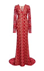 Naeem Khan Floral Lace Gown Red