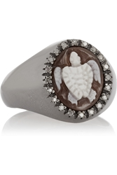 Amedeo Rhodium Plated Sardonyx Shell And Diamond Turtle Cameo Ring