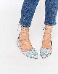 Asos Lordship Lace Up Pointed Ballet Flats Blue