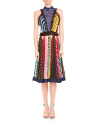 Mary Katrantzou Mixed Print Chain Trim Halter Dress Multicolor Multi Colored
