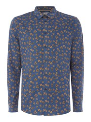 Linea Men's Lons Autumn Leaf Print Shirt Teal