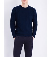 Paul Smith Cactus Cable Knit Cotton And Wool Blend Jumper Navy