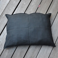Rectangular Cushion Cover Plain Linen With Large Black Oversewing Finish