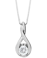 Sirena Diamond Twist Pendant Necklace In 14K White Gold 1 8 Ct. T.W.