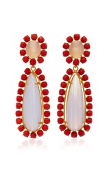 Bounkit 14K Gold Plated Chalcedony And Red Coral Drop Earrings